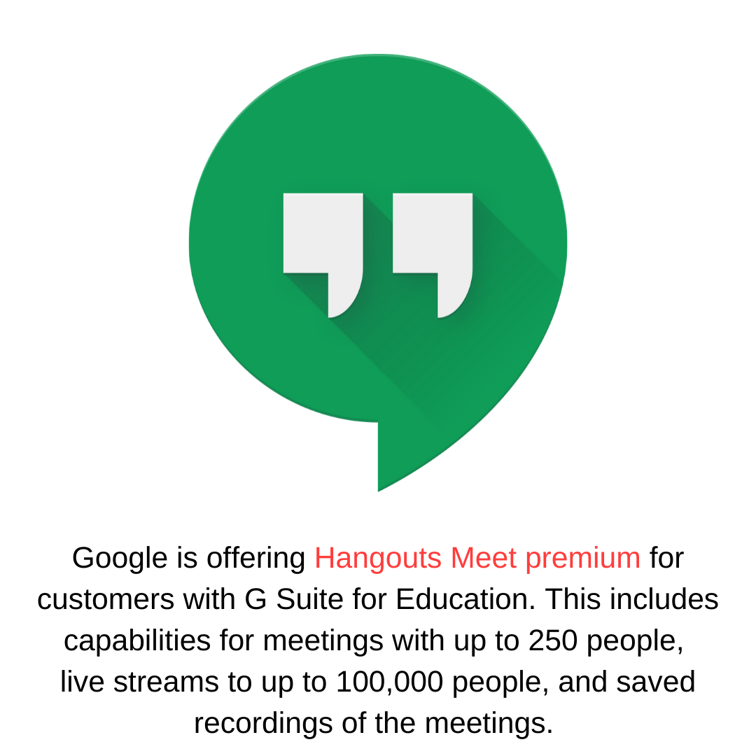 Google is offering Hangouts Meet premium for customers with G Suite for Education. This includes capabilities for meetings with up to 250 people,  live streams to up to 100,000 people, and saved recordings of the meetings.