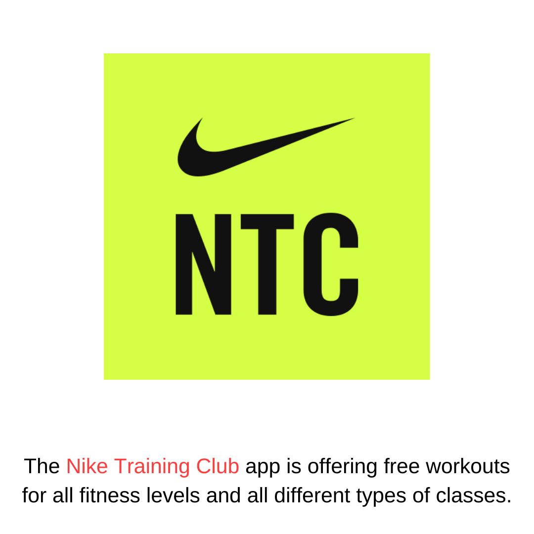 The Nike Training Club app is offering free workouts for all fitness levels and all different types of classes.